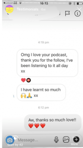 Omg I love your podcast, thank you for the follow, I've been listening to it all day xx I have learnt so much xx